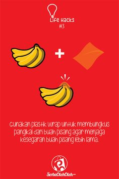 Halo! Selamat Pagi! Kali ini admin akan membagikan satu lagi life hack yang bermanfaat buat kalian pecinta pisang. Gimana sih, caranya agar pisang bisa tetap segar lebih lama tanpa harus masuk ke lemari pendingin? Langsung aja simak :)  Dan kalian bisa juga belanja aneka oleh-oleh berbahan dasar pisang pilihan di http://serbaoleholeh.com/ :)  #oleholeh #infografis #infograpich #pisang #banana #lifehack
