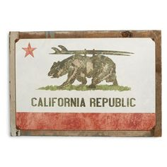 Poncho & Goldstein 'California Republic Surf' Sign ($85) ❤ liked on Polyvore featuring home, home decor, wall art, brown, surf home decor, bear wall art, surf signs, bear sign and brown wall art