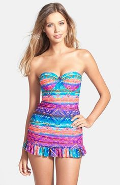 Jessica Simpson Tulum Underwire Bandeau Swimdress Available At Nordstrom Cute Swimsuits Summer