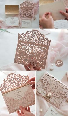 rustic elegant pink laser cut pocket wedding invitation suite with pearl ornament to Easily Create Your Own Elegant Wedding Invitations White Cheap Wedding Invitations Pocket, Elegant Laser Cut Wedding Invitations Quince Invitations, Discount Wedding Invitations, Spring Wedding Invitations, Laser Cut Wedding Invitations, Pink Invitations, Wedding Invitation Wording, Elegant Wedding Invitations, Wedding Stationery, Debut Invitation