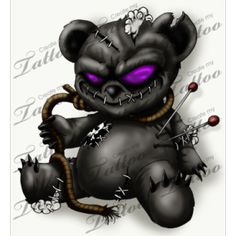 black-evil-teddy-bear-tattoo-design