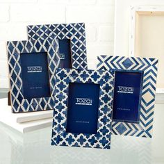 """Blue and White Moderne 4"""" x 6"""" Mosaic Photo Frame Patterns design by Tozai Home"""
