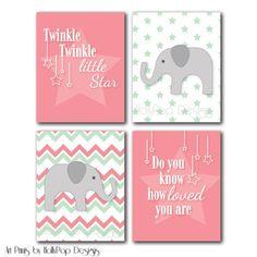 Girl Nursery Wall Art-Pink Chevron Wall Decor-Pink Baby Girl Art Prints for Girls-Chevron Elephant Art Print-Twinkle Twinkle Little Star
