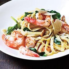 Shrimp Fettuccine with Spinach and Parmesan | CookingLight.com