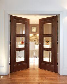 Internal and External doors Timber Door, Wooden Doors, Walnut Doors, External Doors, Glass Partition, My Home Design, Wood Windows, Unique Doors, Hallway Decorating