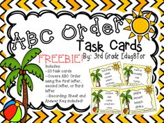 ABC Order Task Cards from 3rd Grade Edug8tor on TeachersNotebook.com -  (11 pages)  - Enjoy these FREE Task Cards to help your students practice ABC Order!