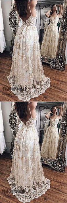 2018 Spaghetti Straps Open Back A-Line Floor Length Lace Embroidery Prom Dress, Prom Dresses, VB0406 #promdress #promdresses