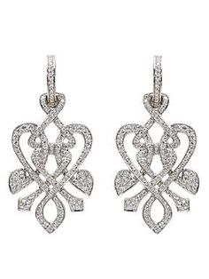 White gold and diamond heart twist drop earrings by Biba at House of Fraser