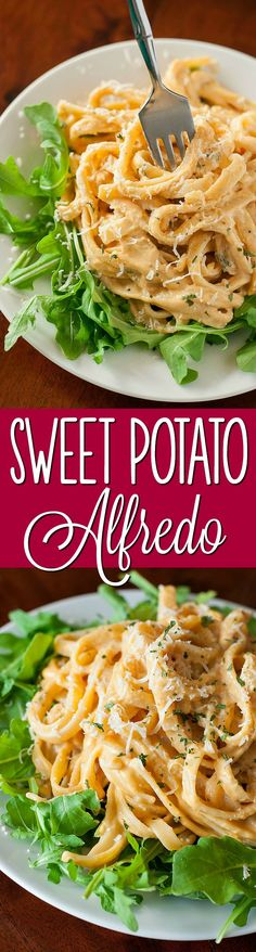 Sweet Potato Alfredo - This gorgeous golden pasta is a delicious twist on a comfort food classic!