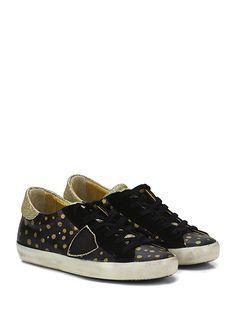 PHILIPPE MODEL PARIS - Sneakers - Donna - Sneaker in pelle effetto crack, camoscio e glitter con logo su lato esterno e suola in gomma. Tacco 25. - BLACK\GOLD - € 248.00