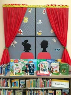 Display at the Oakley Branch Library celebrating Read Across America Day Feb. 27. Library Week, Library Bulletin Boards, Bulletin Board Display, Children's Library, Library Design, Library Themes, Library Displays, Library Ideas, Book Displays