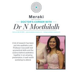 A lot of research has been put into aesthetics and Professor Ceccarelli tied up practical skills and the science behind aesthetics together in an amazing presentation. A well-worth workshop to attend. Dr N Moethilalh For more information visit our website www.merakiskincompany.com or contact us at hello@merakiskincompany.com #MerakiSkinCompany #aesthetics #skin #business #entrepreneur #training #practicaltools #injectables #treatments #doctors #coaching #learning #growth #BeInspired Meraki, Business Entrepreneur, Research, Doctors, Professor, Coaching, Presentation, Workshop, Aesthetics