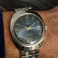 "42411a14e49 Gungadin Watches on Instagram  ""Vintage Omega Seamaster Cosmic Rare Blue  Dial Original Strap 565 c.1969 Serviced £975.00…"""
