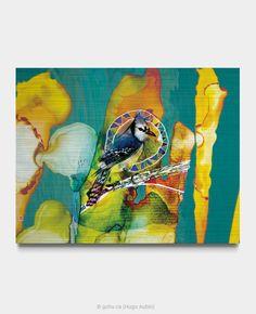 Estampe numérique signé Gohu Année : 2018 Format : 28 x 22 pouces (Oiseau - Geai bleu) Painting, Blue Jay, Printmaking, Drawing Drawing, Paintings, Draw, Drawings