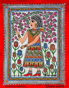 """Girl admiring the bloom in Spring"" in the style on Mithila/ Madhubani Paintings. Artist: Nupur Nishith"