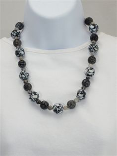 Beaded black and white necklace,                         black veined grey agate, black and white shell mosaic beads, black veined agate   SOLD
