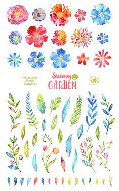 1 giardino soleggiato. 55 elementi floreali clipart