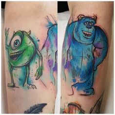 Mike is around a year healed now, got to add Sully the other day 😊 thanks Zoe, always fun ideas looking forward to next time! Disney Watercolor Tattoo, Watercolor Tattoo Sleeve, Disney Sleeve Tattoos, Disney Tattoos, Mike And Sully, Sketchy Tattoo, Mike Wazowski, Cartoon Tattoos, Cool Tats