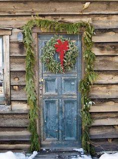 9436 Rustic Christmas Wood Door backdrop - Backdrop Outlet - 1