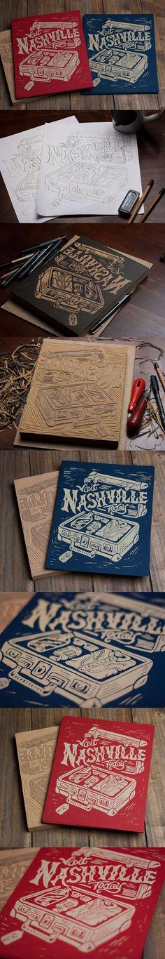 Visit Nashville Today - Block Print by Derrick Castle #block print #design