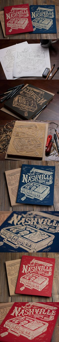 Visit Nashville Today - Block Print by Derrick Castle #block print #design