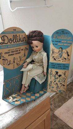 Vintage uneeda dollikin doll in original brunette