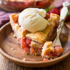 Learn how to make the sweetest strawberry rhubarb pie with the most amazing flaky crust, and get tips on how to avoid a mushy filling!