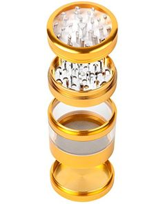 Zip Grinders – Large Spice Tobacco Herb Weed Grinder – Four Piece with Pollen Catcher – 3.25 Inches Tall – Premium Grade Aluminum (2.5″, Gold)