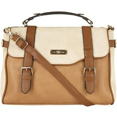 Dorothy Perkins Tan and mixed colour brown satchel bag