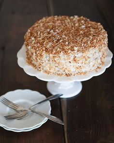 Coconut Cake with Almond Buttercream and Toasted Coconut