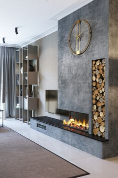 Textured Slate False Breast with Tall Log Store Home Room Design, Luxury Living Room, Luxury Living Room Design, Home Fireplace, Living Room Decor Fireplace, Fireplace Design, House Interior, Modern Fireplace, Living Room Design Modern