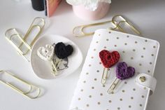A personal favorite from my Etsy shop https://www.etsy.com/listing/502250161/crochet-planner-heart-clip