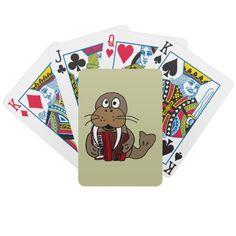 Walrus Playing Accordion Playing Cards #walrus #music #funny #accordion #playingcards #gifts #animals #zazzle #art #petspower