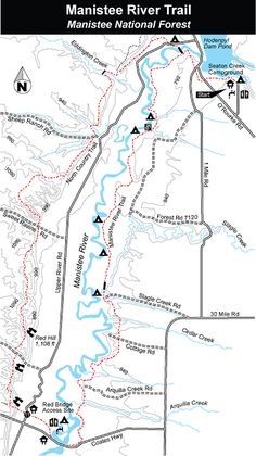 Manistee River Trail - Manistee National Forest - MichiganTrailMaps.com.   Do-able with kiddos.