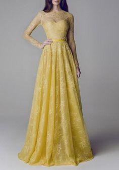Gelbe Spitze hohle-heraus gefaltetes Brautjunfer Elegantes Abschlussball NYE Partei Maxi Kleid