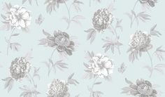 Ashton Peony Companion (AR200593) - Shand Kydd Wallpapers - A pretty floral trial shown in beautiful aqua and metallic silver. This is a pre pasted product. Please request a sample for a true colour match.