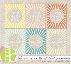 I am a child of God printable by rosanna