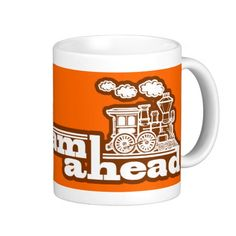 """full steam ahead"" orange steam train logo mug by Littleeden at Zazzle"