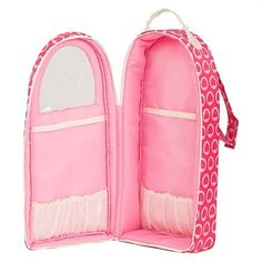 """18"""" Dolls - Our Generation Backpack Doll Carrier - With its Pink Hearts pattern, we think this carrier makes a great Valentine's Day gift for fans of American Girl and other 18"""" dolls.  The ingenious backpack-style, with a peak-through window, elastic pouches and Velcro closures, keeps an 18"""" doll and some clothes and accessories safe and secure while on the go!"""
