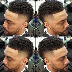 Faux hawk curly top fade