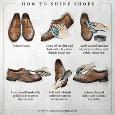 How To Shine Your Shoes infographic by graphic designer Russell Shaw for Bearings Guide