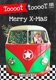 #Hippe en #vrolijke #kerstkaart met #kerstboom in #autobusje. Plaats een foto van jezelf of je kind in dit te gekke kerst busje! Tekst is aan te passen.  Design: Zus&ik  Te vinden op: www.kaartje2go.nl