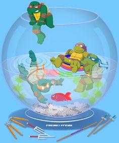 Turtles in a fishbowl by FREAKfreak.deviantart.com on @deviantART