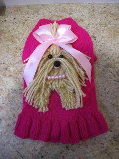 Costura Closet de perro Yorkie suéter caliente rosa por Nina