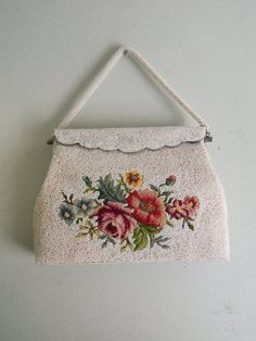 Vintage 1950s Tapestery Handbag with Roses and Pearl Beading / Seed Pearl Beads and Embroidered Flowers Purse from Hong Kong by VintageBaublesnBits on Etsy