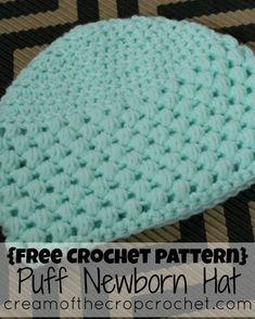 Cream Of The Crop Crochet ~ Puff Newborn Hat {Free Crochet Pattern}