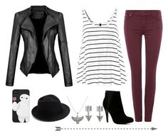 """""""Black and White"""" by irdina-n ❤ liked on Polyvore featuring moda, SO, 7 For All Mankind, ALDO, Eugenia Kim, Alex and Ani, stripes, leatherjacket, Fedora y eagle"""