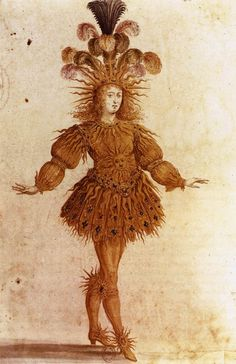 Louis XIV as Apollo, costume by Henri Gissey for the Ballet Royal de la Nuit, 1653. The  young Louis XIV, blond and dressed as the god Apollo in golden feathers and sunbeams represented the rising sun.