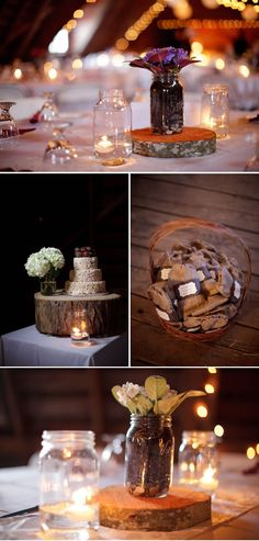 center pieces planted in mason jars