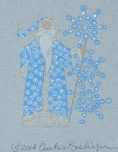 CURTIS BOEHRINGER HAND PAINTED NEEDLEPOINT CANVAS THE SNOWFLAKE SANTA
